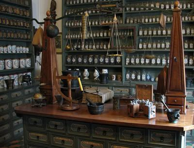 I like the old apothecary counter, weight stations and pantries for the layout of the shop.