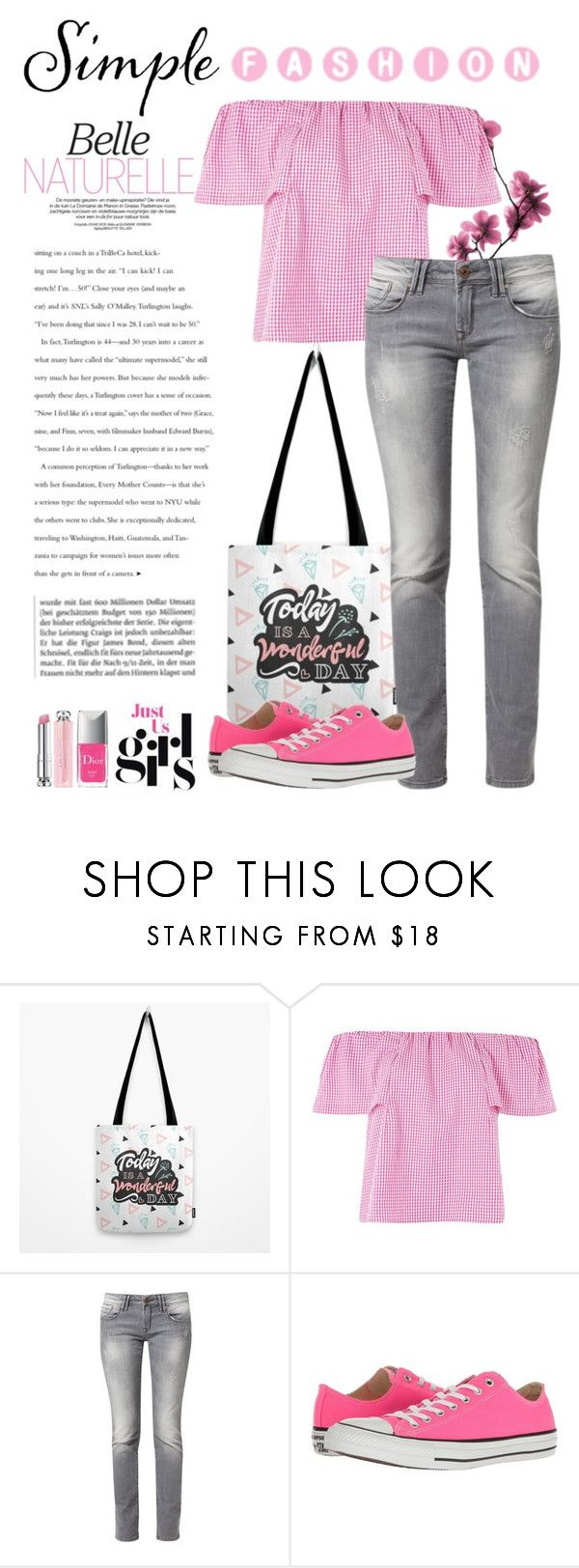 """Gingham Pink Top Simple & Romantic"" by judithhoy ❤ liked on Polyvore featuring Topshop, Mavi, Converse, Christian Dior, simple, Pink, romantic, girly and ginghamtop"