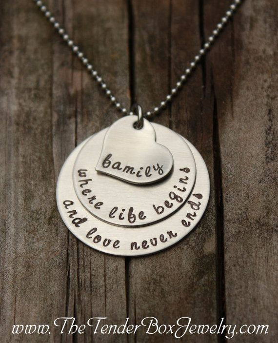 Family necklace family where life begins and love by TheTenderBox, $31.00