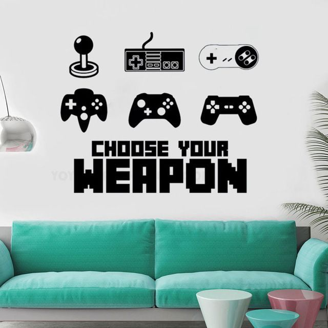 Vinyl Wall Decal Joystick Gamer Room Vinyl Sticker Boy Teen Bedroom Dormitory Mural –  – #GamerRoom|DIY