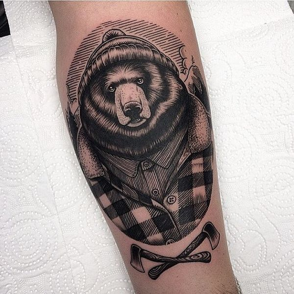 American traditional bear tattoo on the foot in gravure style