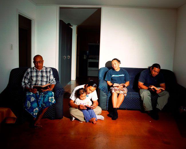 Edith Amituanai, The Amituanai Family Lotu, 2004, from the series, Ioka, C-type photograph