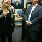 Robyn Young and Nick Sayers exchange some banter during the speeches at the KINGDOM launch.