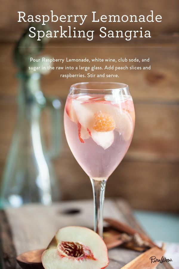 To make a Raspberry Lemonade Sparkling Sangria add raspberry lemonade, white wine, club soda and sugar in the raw into a large glass. Add peach slices and raspberries to complete the recipe for a delicious tasting summer drink.