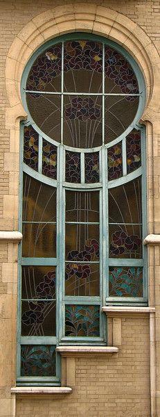 Art deco window in Brussels at 6 Rue du Lac. Beautiful.