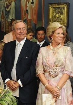 King Constantine II & Queen Anne-Marie, former monarchs of Greece, attend the wedding of their son, Prince Nikolaos to Tatiana Blatnik. Anne-Marie was born a Danish princess.
