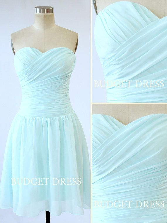 Short Bridesmaid Dress with Sweetheart Neckline by BudgetDress, $59.00 Navy blue to match