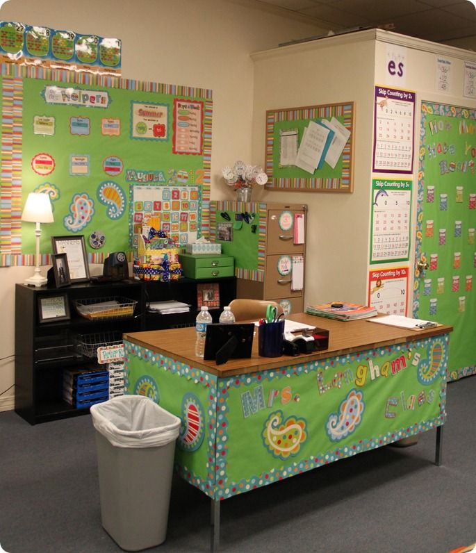 Teacher's Desk decorated with Dots on Turquoise. Every teacher deserves their own space!