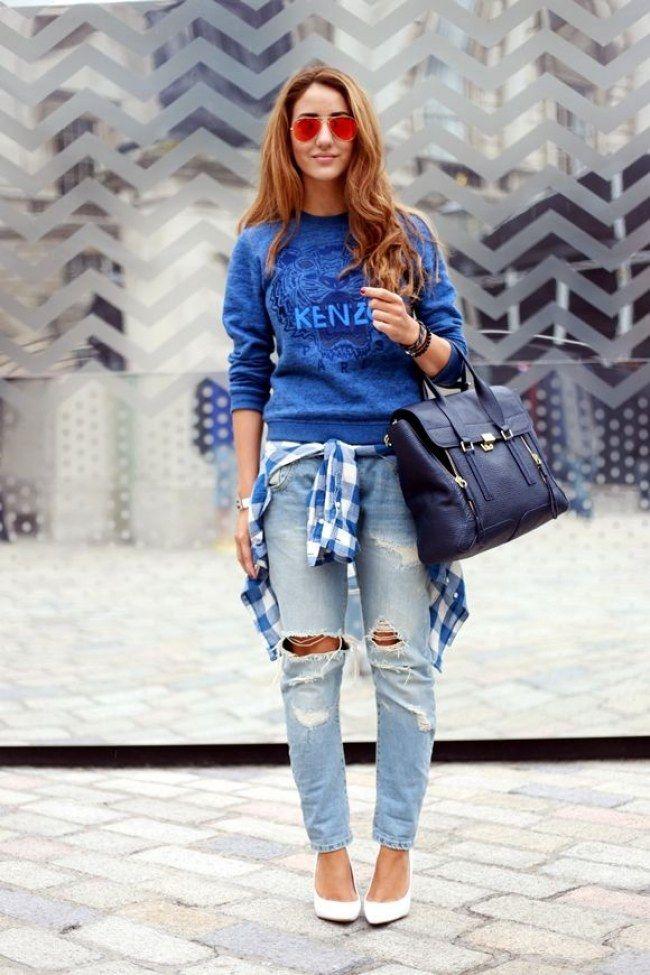 Quer deixar seu jeans mais descolado? Que tal usar com blusa de moleton e uma camisa xadrez amarrada na cintura?