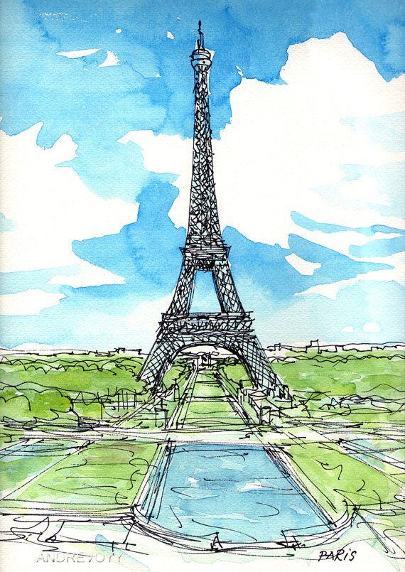 París, Torre Eiffel 2 º lámina de un acuarela original