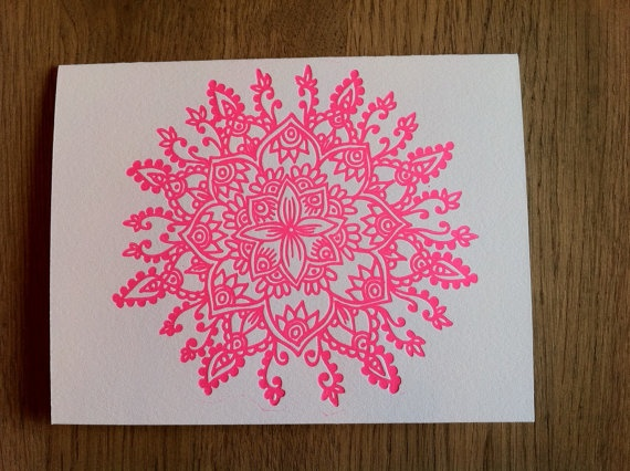 Letterpress Mandala: Tattoo Ideas, Letter Pressed, Hot Pink, Letterpress Cards, Note Cards, Letterpress Mandala, Mandala Tattoo, Flowers Mandalas Geometry