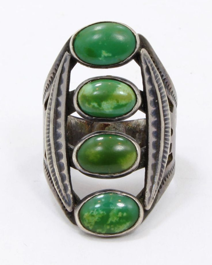 Vintage Old Pawn Fred Harvey Era Navajo Ring Sterling Silver & Green Turquoise    eBay