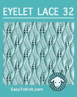 #Knit ponto de Chama de Vela, Padrão de Renda Fácil Ilhó #casytoknit #knitlace