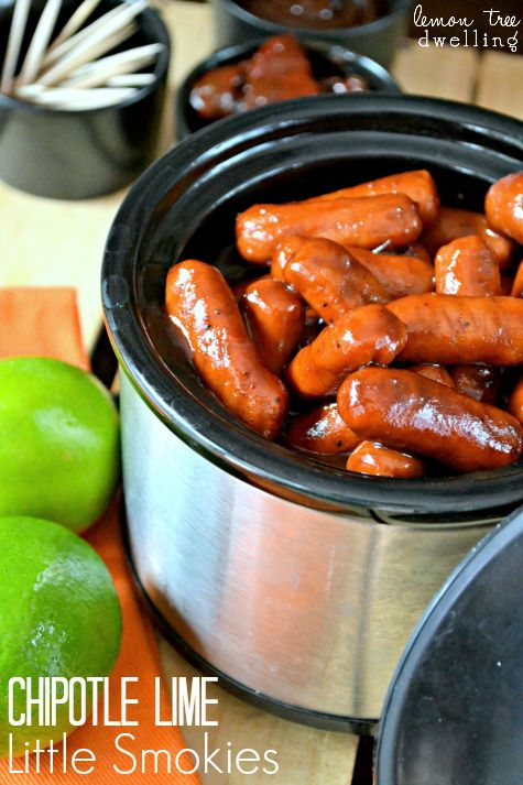 {chipotle-lime little smokies} perfect switch-up from the usual go-to recipe while still being super easy! just a mixture of lime juice + honey bbq sauce + adobo sauce!