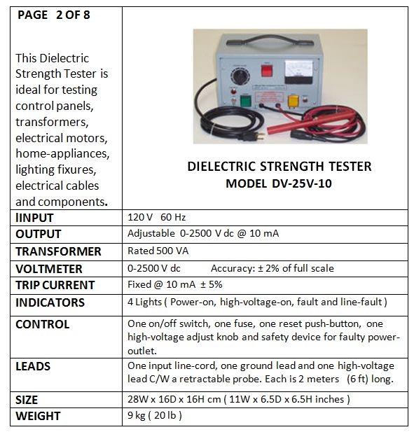 D C  DIELECTRIC STRENGTH TESTERS