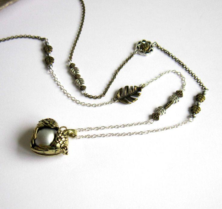 Bola de grossesse bronze et argenté bohème chic, cadeau femme enceinte, cage coeur ailé, feuilles : Collier par color-life-bijoux