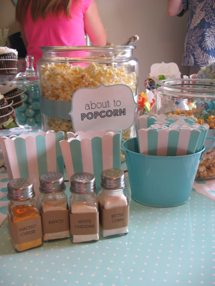 Popcorn Bar at About to Pop Baby Shower it was just too cute!