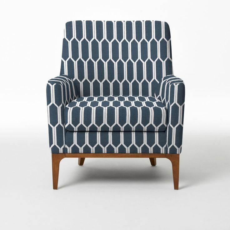 Sloan Upholstered Chair – Prints in honeycomb, blue lagoon - from West Elm