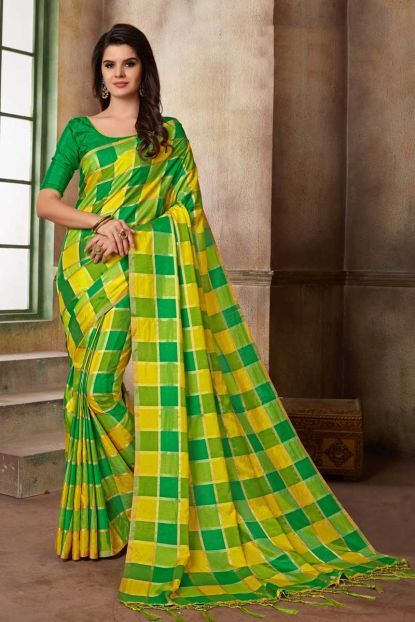 ed7e4a26 Yellow And Green Chex Pattern Weaved Silk Sari With Blouse Piece And Tassle  On Pallu Cataloge Number:-7519 Whatsapp :- +91 9377709531 #sareewholesaler  ...