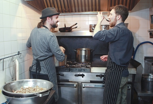 The two chefs and owners, Gilbert MacNutt, left, and William Cody, source their ingredients locally.