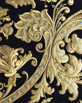 Goldwork detail. Learn how to do goldwork like this from experts who work for Chanel, Louis Vuitton and more at https://www.mastered.com/course-listings/3