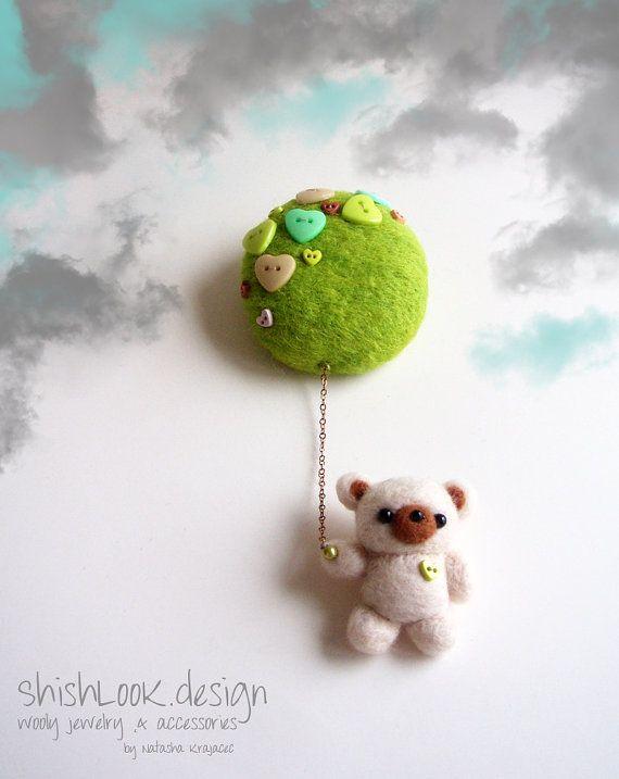 Little+Flying+Bear+Hand+Felted+Brooch+Felt+by+ShishLOOKdesign,+$32.00
