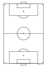Voetbalveld A4 zwart-wit