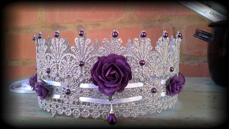 Made by Grievious- Silver and Purple Rose/ Fairy Lace Crown