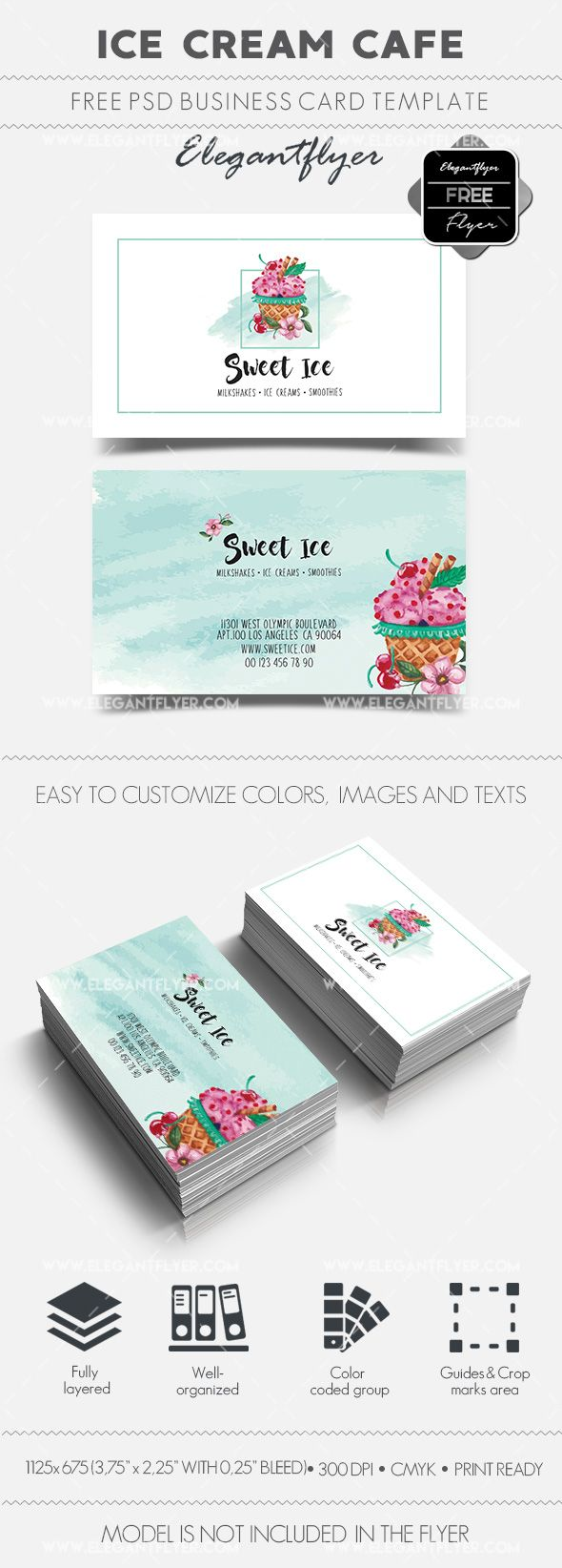 Ice Cream Cafe Free Business Card Templates Psd Free Business Card Templates Free Business Cards Business Card Template Psd