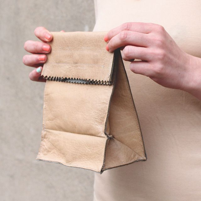 Leather lunch bag. #bag