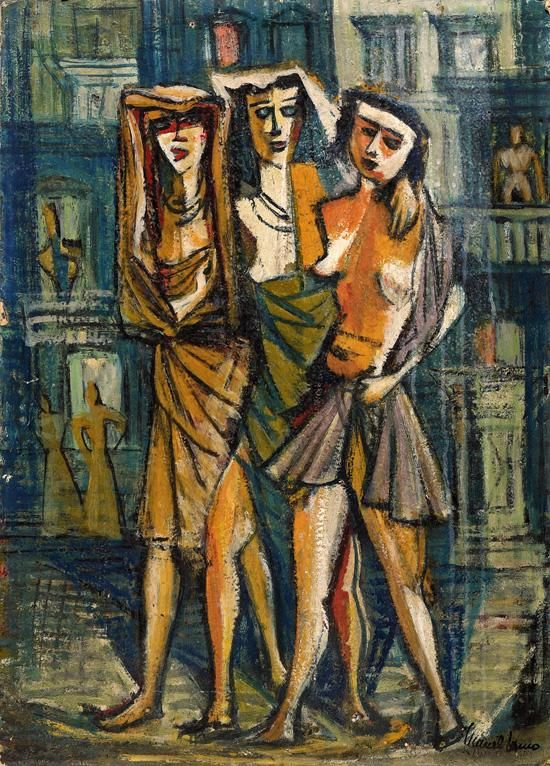 Marcel Janco, Israeli Art, 1895 - 1984, Three Women in Malta, 1930s, Oil on cardboard, 69x50cm, Stamp signed., , Marcel Janco, National Museum of Art, Bucharest, Romania, 1996. Illustrated in the exhibition's catalogue., , Accompanied by a certificate of authenticity from the Artist's daughter, Mrs. Dadi Janco., item from abroad