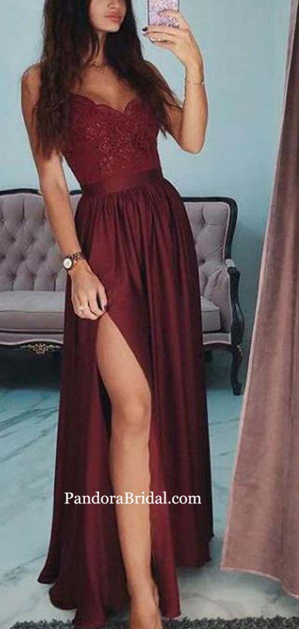 Burgunder Spaghetti-Trägern Lace Top lange A-Line Prom Kleider, Prom Kleider,