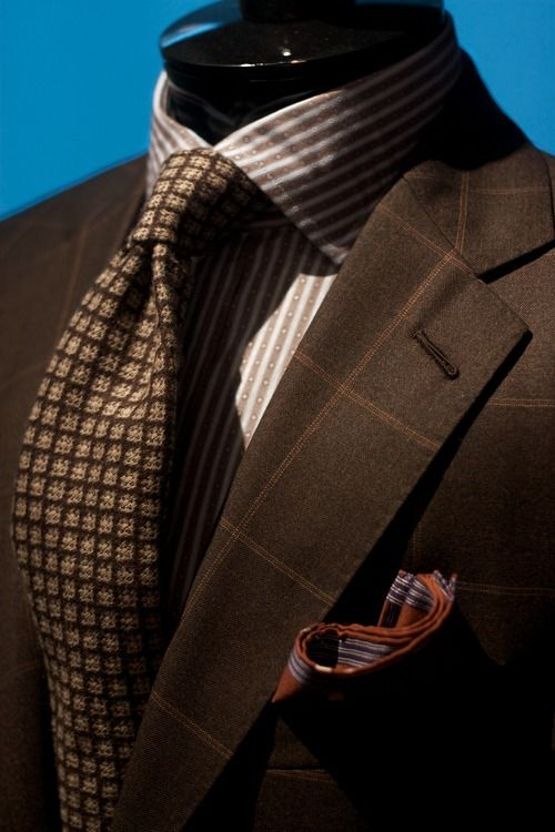 Brown-Windowpane Suit - Alan Flusser