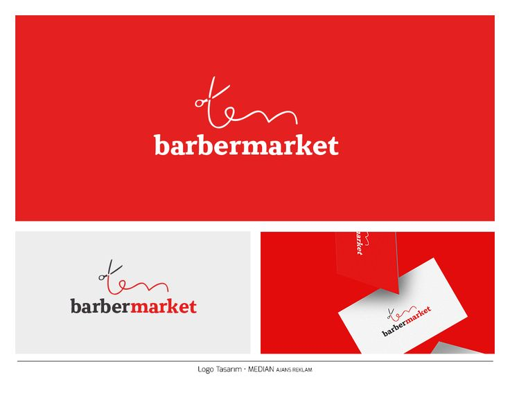 Barber Shop Logo - Barber Market - Scissors needle Logo