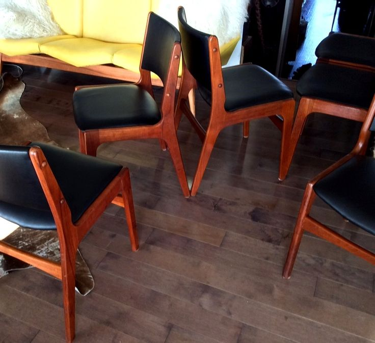 6 Danish Mid Century Modern Teak Chairs REFINISHED REUPHOLSTERED attributed to Eric Buch