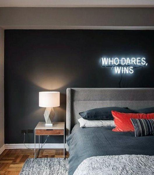 Мужская Спальня Идеи С Неоновая Вывеска Стены Декор
