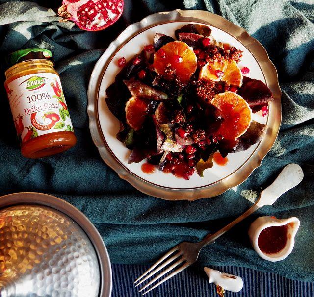 Quinoa Raz!: Czerwona sałatka z quinoą i dressingiem z dziką różą