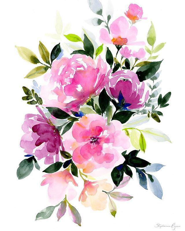 Надписью, цветы акварель на открытку