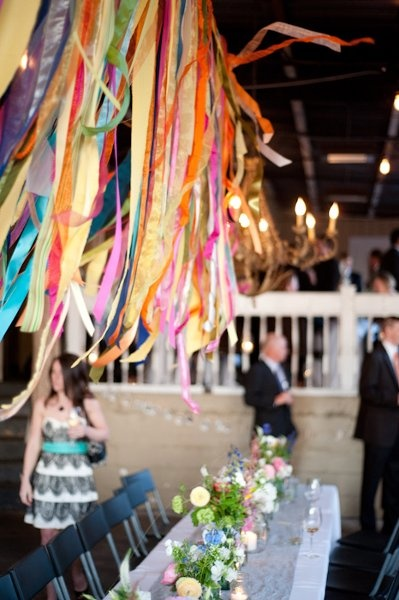 hanging ribbon over the table (photo source: Harvey Designs)