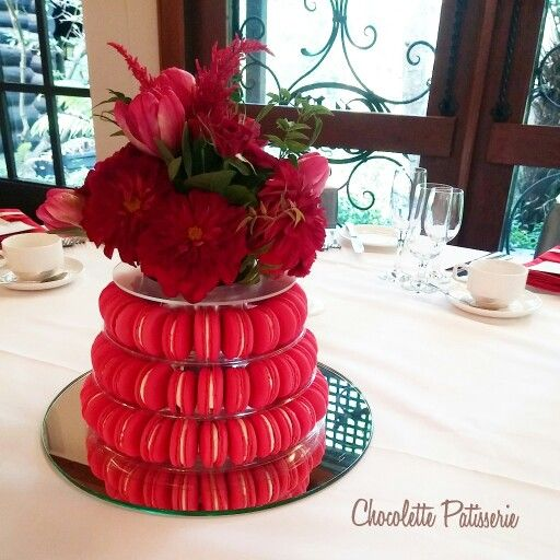 Chilli red Macarons tower