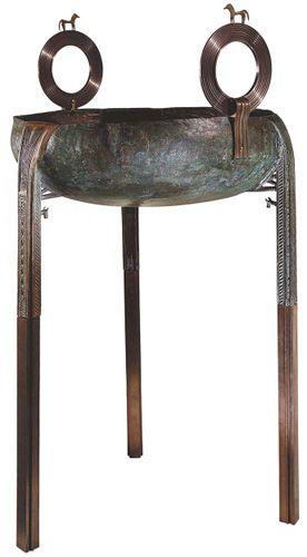 Greek bronze tripod cauldron, probably from a Corinthian workshop, ht. (with restorations) 100 cm, ca. 750 B.C.E. Basel, Antikenmuseum und Sammlung Ludwig, inv. no. Ca 1 (after Latacz et al. 2008, no. 14; courtesy Antikenmuseum Basel und Sammlung Ludwig).