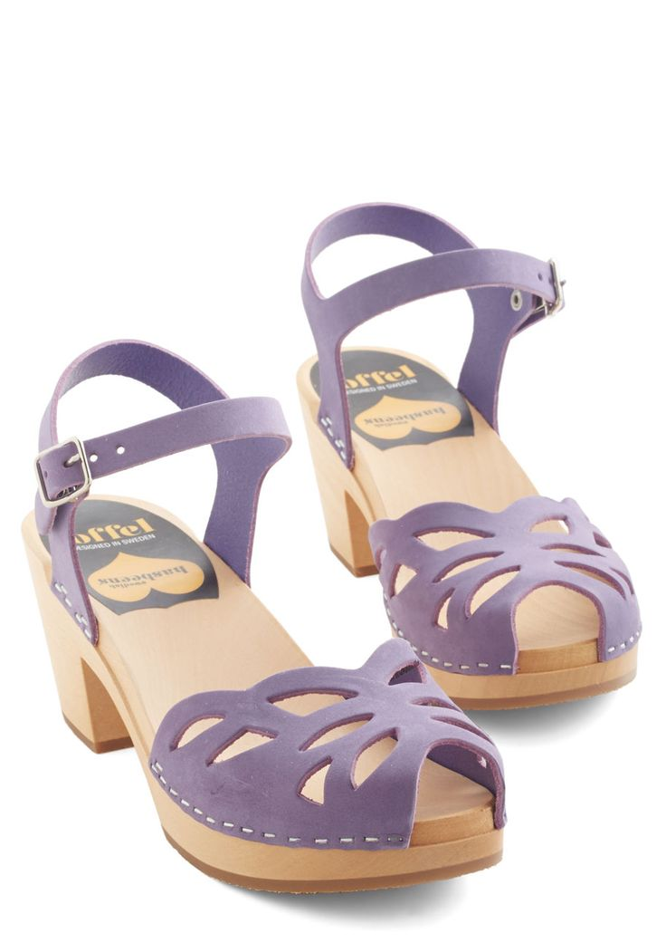 Butterfly Wishes Heel by Swedish Hasbeens - Mid, Leather, Purple, Solid, Cutout, Pastel, Best, Platform, Buckles, Peep Toe, Strappy, Beach/Resort, Spring