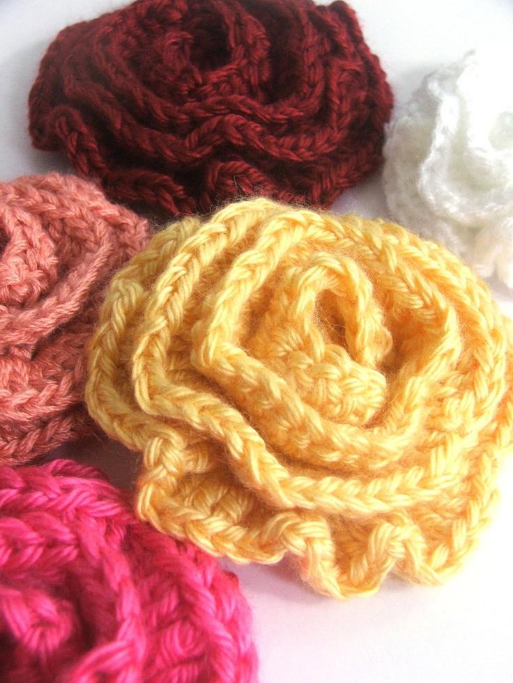 Flower Pattern - Easy Crochet Pattern for Single Rose - use for Hair, Scarf, Pin. $2.90, via Etsy.