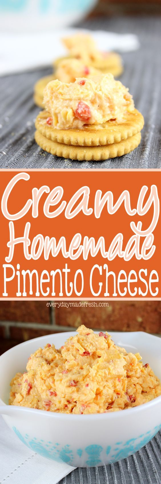 Nothing makes a sandwich better, or the perfect cracker topping, than my recipe for Creamy Homemade Pimento Cheese! | EverydayMadeFresh.com http://www.everydaymadefresh.com/creamy-homemade-pimento-cheese/