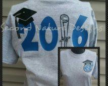 2016 High School or College Graduate T-Shirt /  Monogram Graduation Shirt / 2016 Senior Shirt