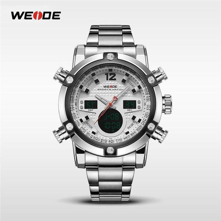 Annons på Tradera:  Nytt WEIDE 5205 Rostfritt stål LCD/Analoga Kronograf herrur.30M vattenbeständig
