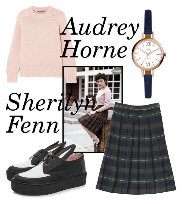 """""""Audrey Horne Twin Peaks"""" by katrinalester123 ❤ liked on Polyvore featuring Alexander McQueen, French Toast, Minna Parikka and FOSSIL"""