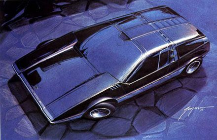 The Porsche Tapiro was designed in 1970 by Giorgetto Giugiaro of Ital Design. It was Giugiaro's 4th prototype at Ital and one of his favourite at the time. It was based on the Porsche 914/6 platform and featured a mid mounted 2.4 litre flat 6 cylinder Porsche engine, giving 220 bhp and 7200 rpm. There car had gullwing doors and the profile of the windscreen was almost the same angle as the bonnet. It's dimensions were 4060 mm long, 1760 mm wide and 1110 mm high.
