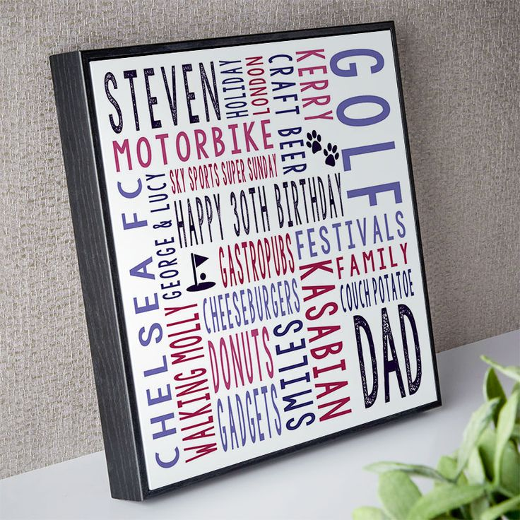 30th birthday gift for him personalised square word art