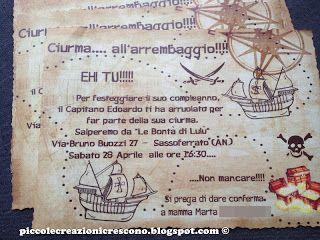 Piccole Creazioni Crescono: 28/04/2012 : Festa pirata per il compleanno di Edoardo